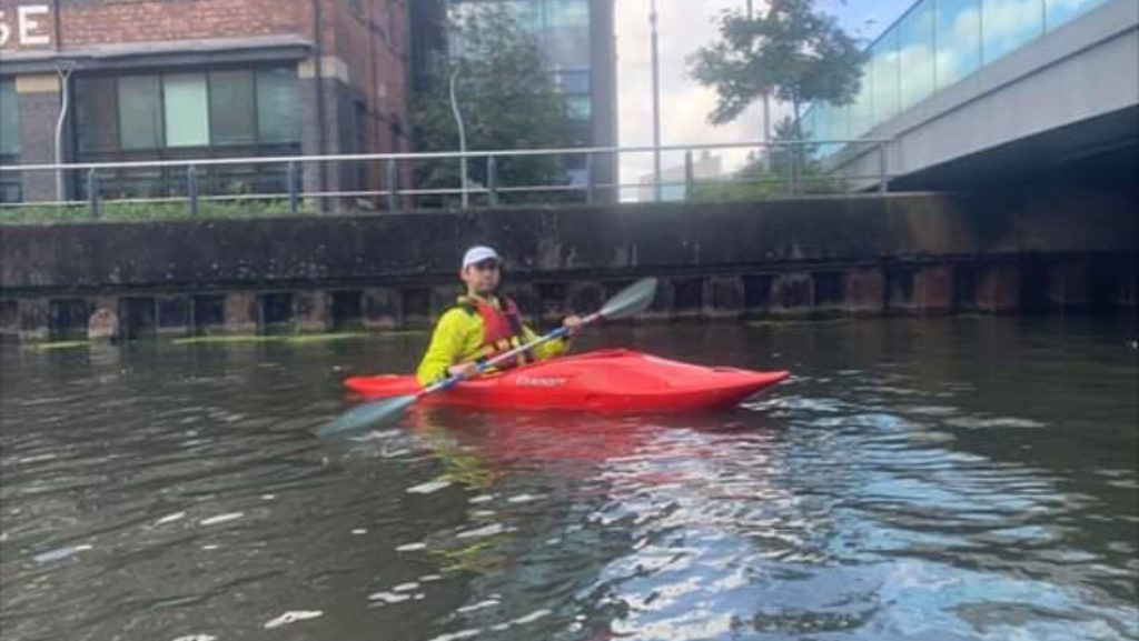 Michael paddling for his 30 mile badge
