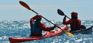 A close up of two kayakers on the sea, paddling away from the shore